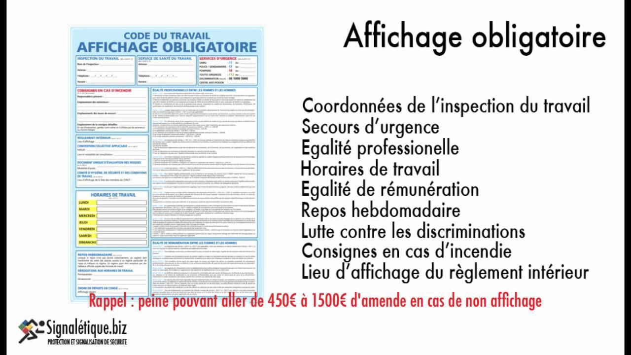 Signal tique d 39 affichage obligatoire youtube for Affichage obligatoire garage