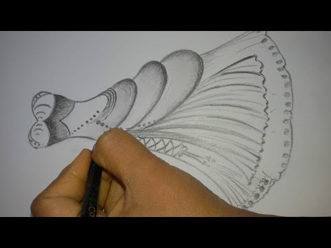 How To Draw A Dress Design How To Draw A Beautifull Dress Drawing Tutorial S Pollen Youtube