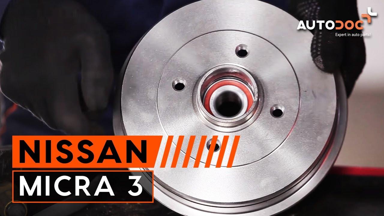 Hoe een achterste remtrommel en wiellagers vervangen op een NISSAN MICRA 3  HANDLEIDING | AUTODOC