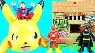 Imaginext Justice League Batman & Ash Rescue Pokemon Pikachu ! Superhero Toys