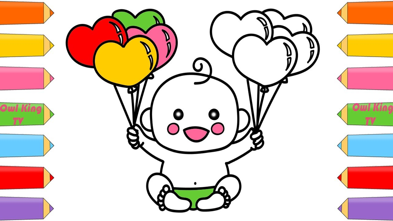 how to draw baby doll with balloons rainbow coloring pages