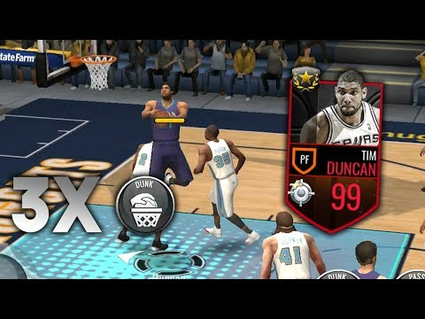 3 IN THE PAINT ABILITIES IN 1 QUARTER!! 99 OVR TIM DUNCAN GAMEPLAY IN NBA LIVE MOBILE!!