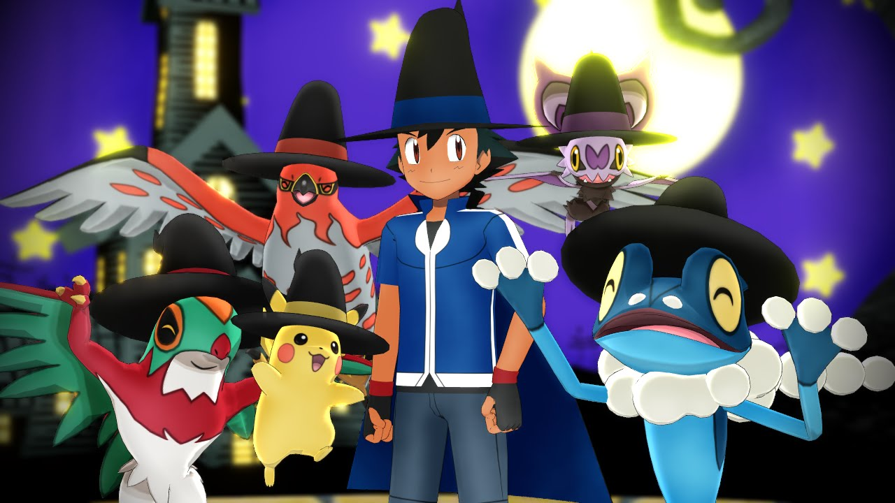 pokemon xy mmd  happy halloween  satoshi  youtube music clipart free music clip art free border