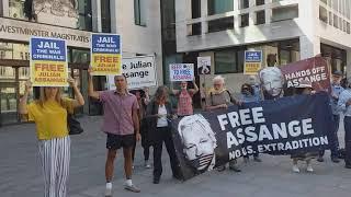 Free Julian Assange Protest Westminster Magistrates Court 1 June 2020