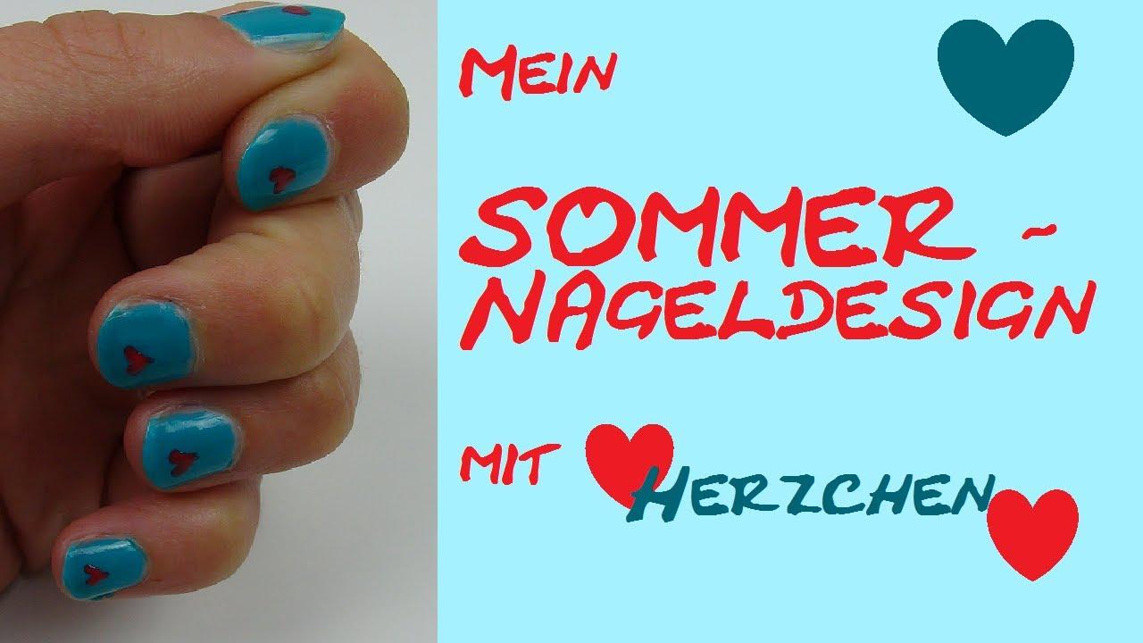 DIY Nail art/ Nagellack Design mit Herzchen für den Sommer - YouTube
