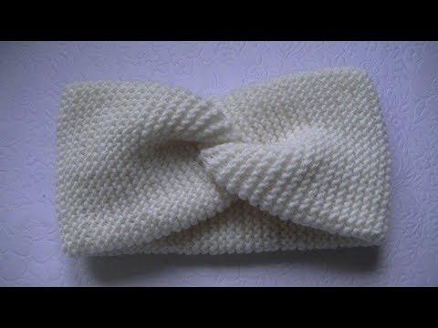 Вяжем  повязку на голову узором платочная вязка спицами.