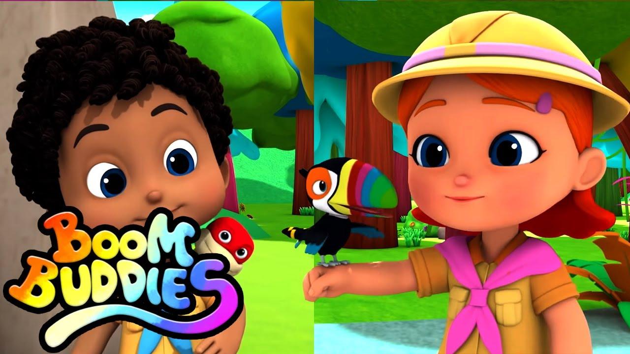 Canción de la selva | Dibujos animados | Videos para bebes | Boom Buddies Español | Educación