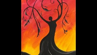 Whimsical Tree Goddess Step by Step Acrylic Painting on Canvas for Beginners