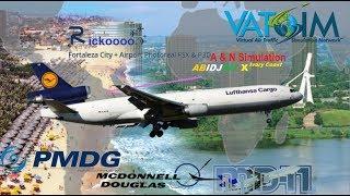 PMDG MD11 on Vatsim - Fortaleza, Brazil to Abidjan, Ivory Coast Africa! (FSX)