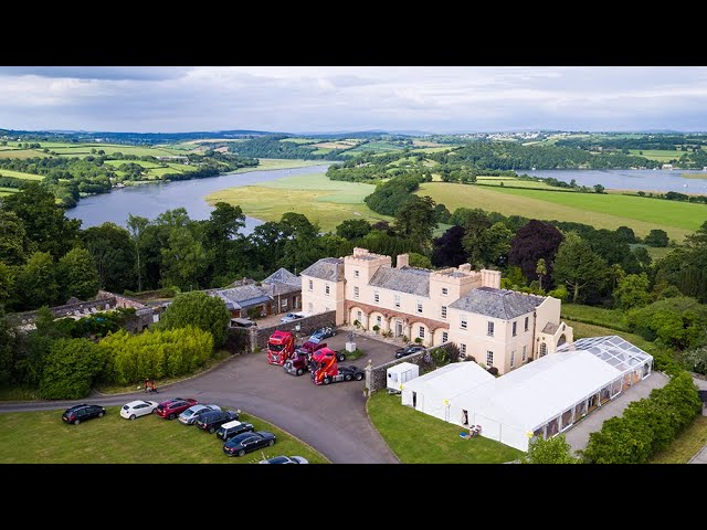 Arriving in style - Pentillie Castle wedding video, Cornwall - Drone wedding video