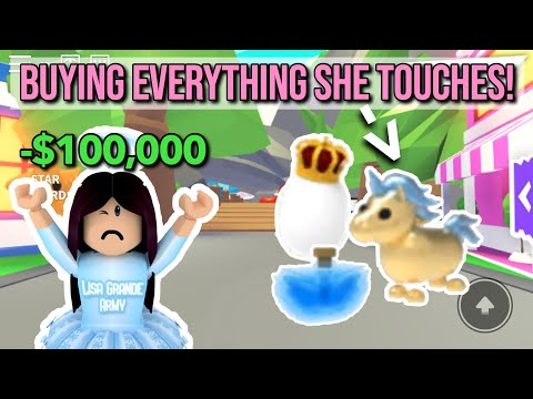 Buying Everything My Golden Unicorn Touches In Adopt Me! (Roblox)