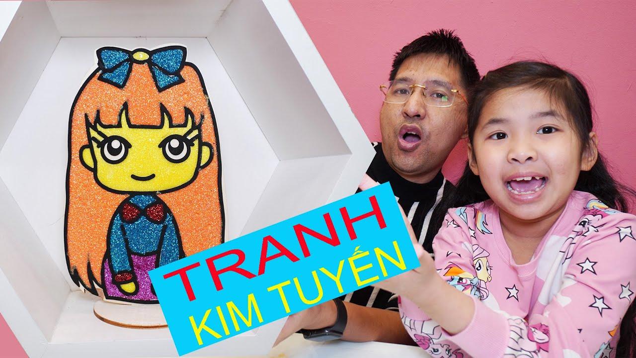 Bố Pha Màu Kim Tuyên Cho Bé Bún Tô Tranh Bạn Gái – Glitter Coloring For Picture