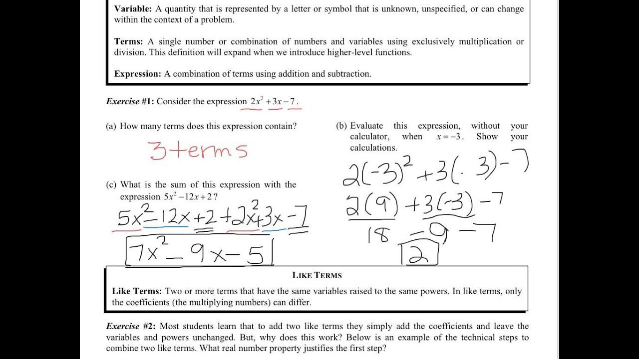 Solving Linear Equations Common Core Algebra 2 Homework Fluency