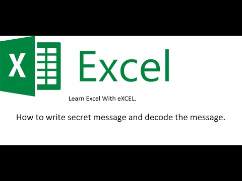 Learn How to write code  and decode message , clean dirt text in excel.