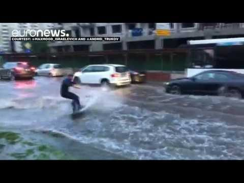 Russia wakeboarder rides the waves in Moscow street