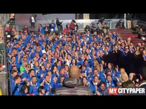 Viva Italia! Italian Marathon Runners on the Red Steps in Times Square