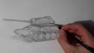 Как нарисовать танк т 34 / Наброски на бумаге(В этом видео я вам покажу как нарисовать танк т 34. Подписывайтесь на канал Наброски на бумаге), 2015-03-09T05:29:58.000Z)