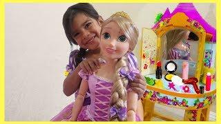 Sam with New Rapunzel Doll / Make Up