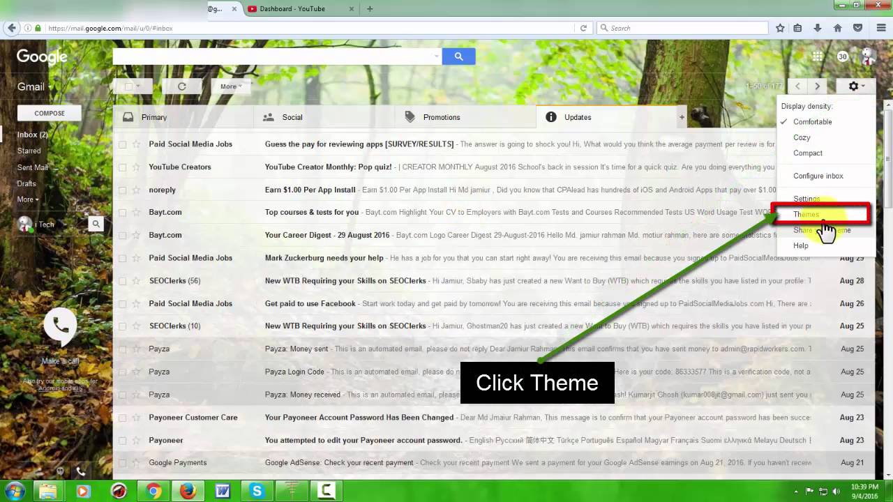 Change gmail theme in android