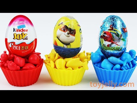 Thumbnail: Super Kinder Joy Learn Colors Muffin Cupcake Surprise Eggs Toy Baby Finger Song Rhymes Play Doh