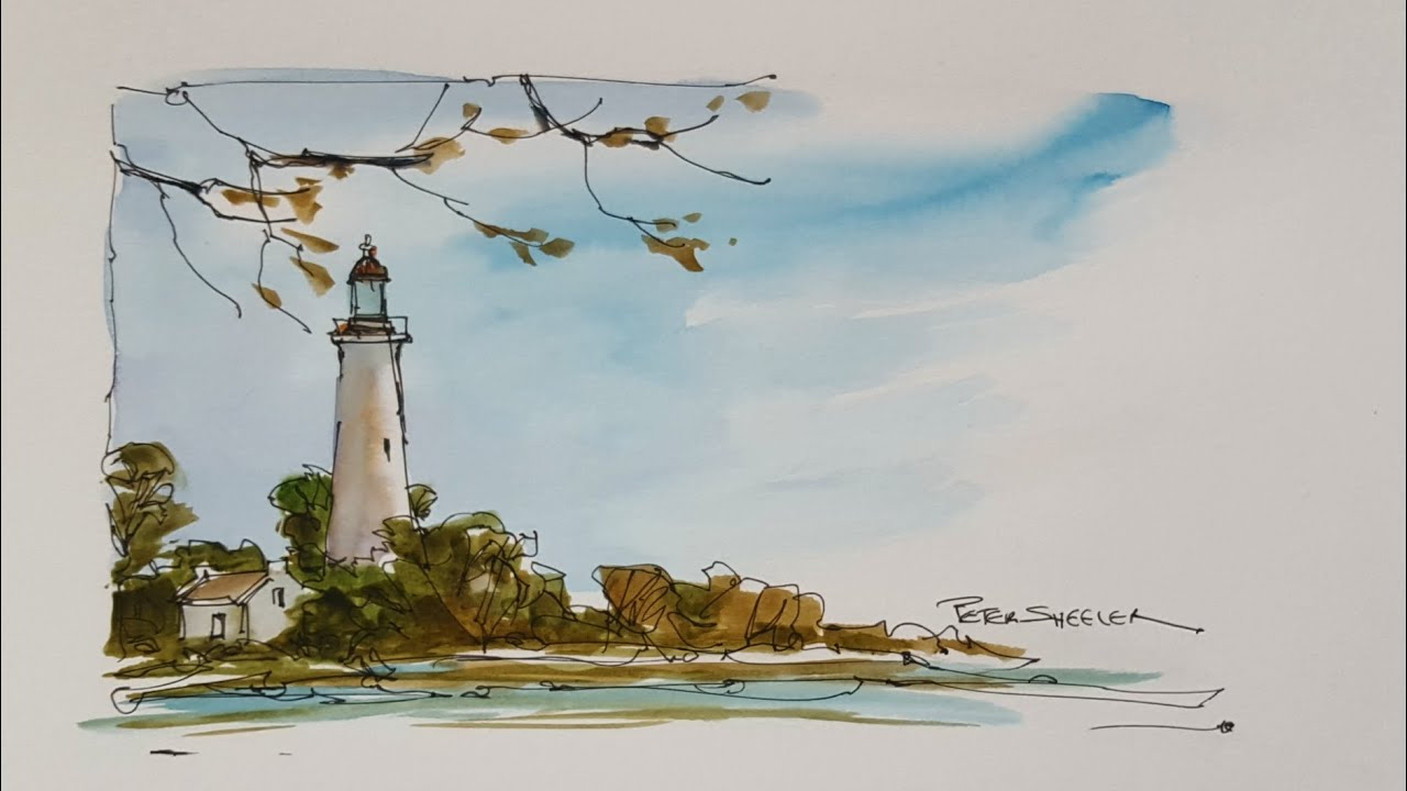 A quick and fun, pen and wash demonstration of a Lighthouse painting  Easy  to follow and learn