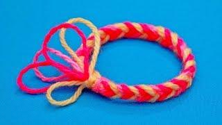 как сделать из шерстяных ниток браслет