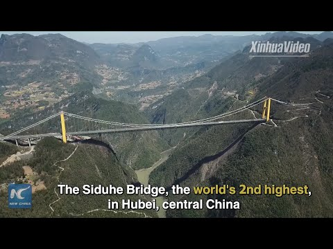 Breathtaking Aerial view of world&39;s 2nd highest bridge in China