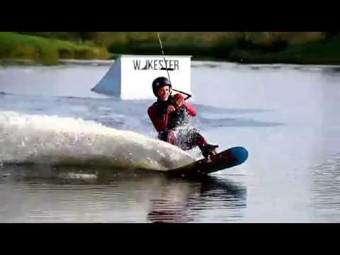Snowboard Wraps test on water (snowboarding in wake park)