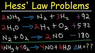 Hess Law Chemistry Proḃlems - Enthalpy Change - Constant Heat of Summation