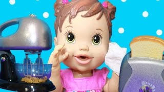 Baby Alive GETS HURT Play Kitchen Toys Play Doh Food Fun Toaster Mixer Coffee Maker AllToyCollector