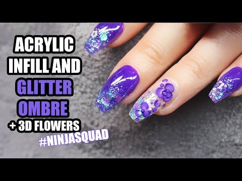 COFFIN SHAPED ACRYLIC NAILS WITH GLITTER OMBRE AND PURPLE FLOWERS | NINJA FAIRY