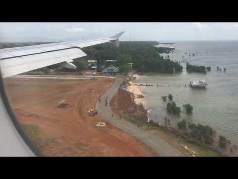 Philippine Airlines landing in Puerto Princesa International Airport Palawan Philippines
