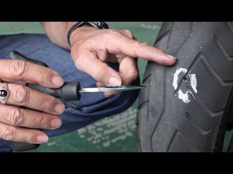 Motorcycle tyre repair - How to plug a bike tire
