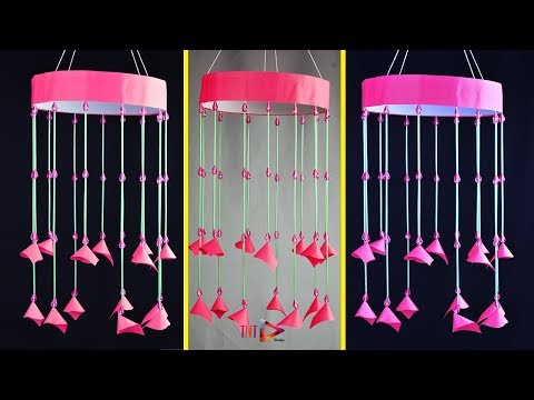 DIY New Design Paper Wind Chime | DIY Straws Wall Hanging Jhumar | Beaded Wall Hanging Tutorial
