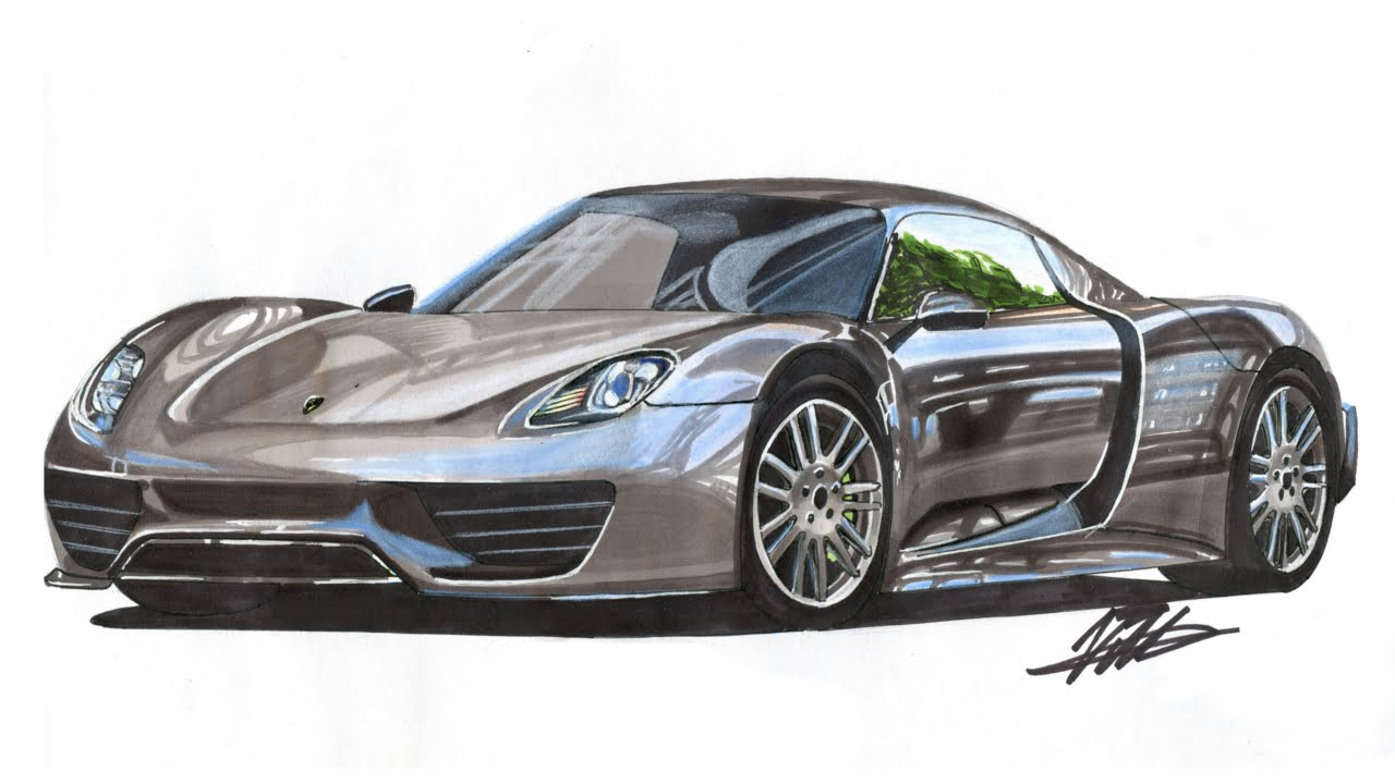 Realistic Car Drawing Porsche 918 Time Lapse Youtube