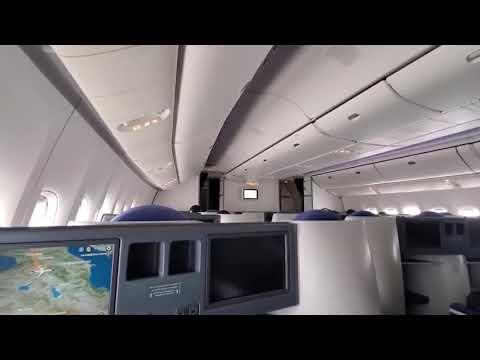 Landing In Winter Yerevan, Armenia. Boeing 777. Посадка в Ереване, аэропорт Звартноц.