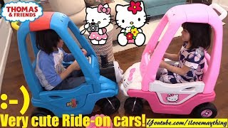A Cute PINK HELLO KITTY Ride-On Car for Little Kids. Hello Kitty and Thomas the Tank Engine