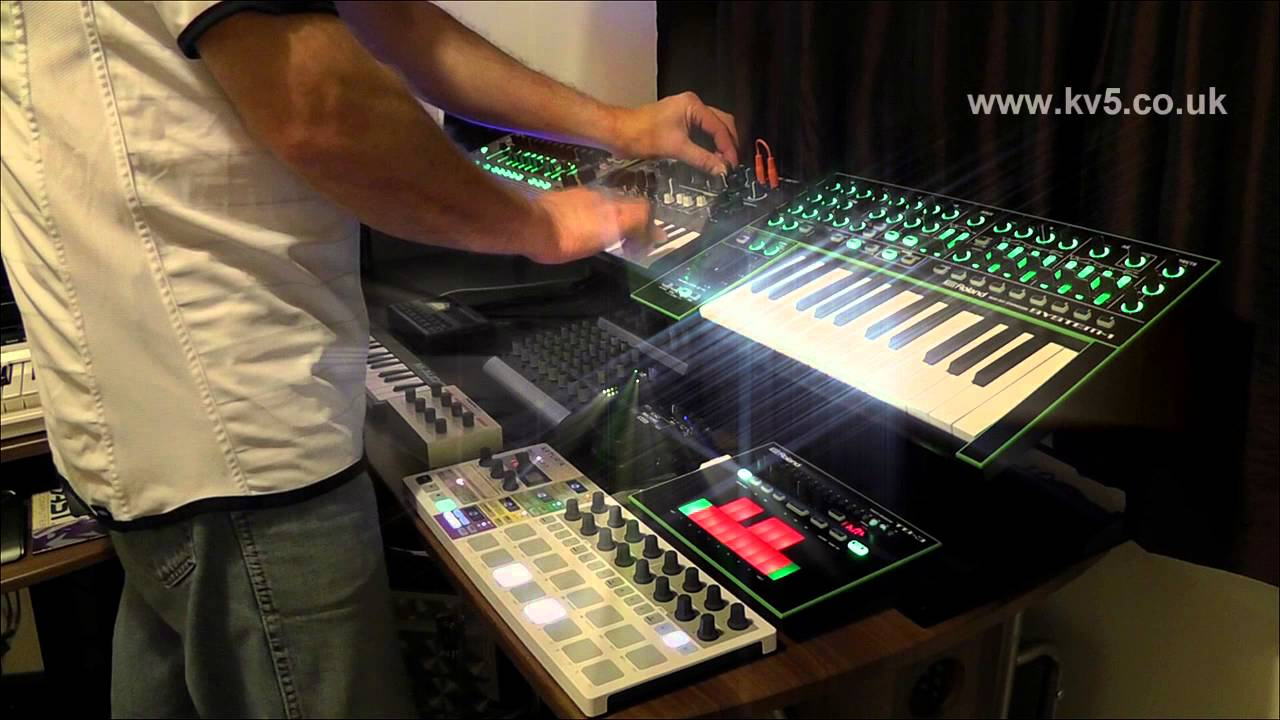 live synth jam roland tr 8 drum machine aira tb 3 system 1 microbrute arturia beatstep pro. Black Bedroom Furniture Sets. Home Design Ideas