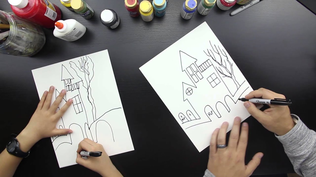 How To Draw A Haunted House - YouTube