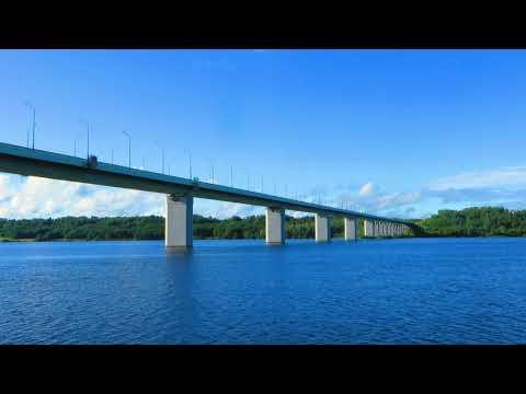 Кинешма - Река Волга с теплохода. Проход Кинешемского моста (Ивановская область)