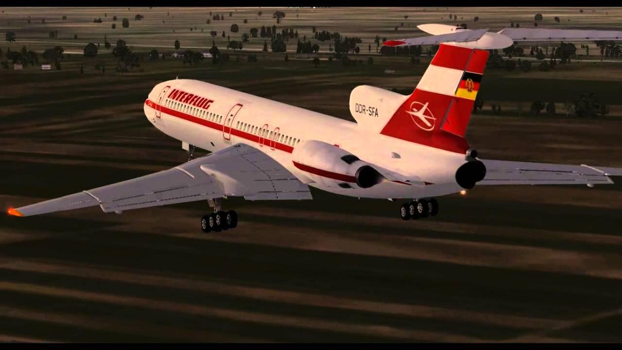 Interflug Tupolev 154 Landung Lybe Fsx Youtube