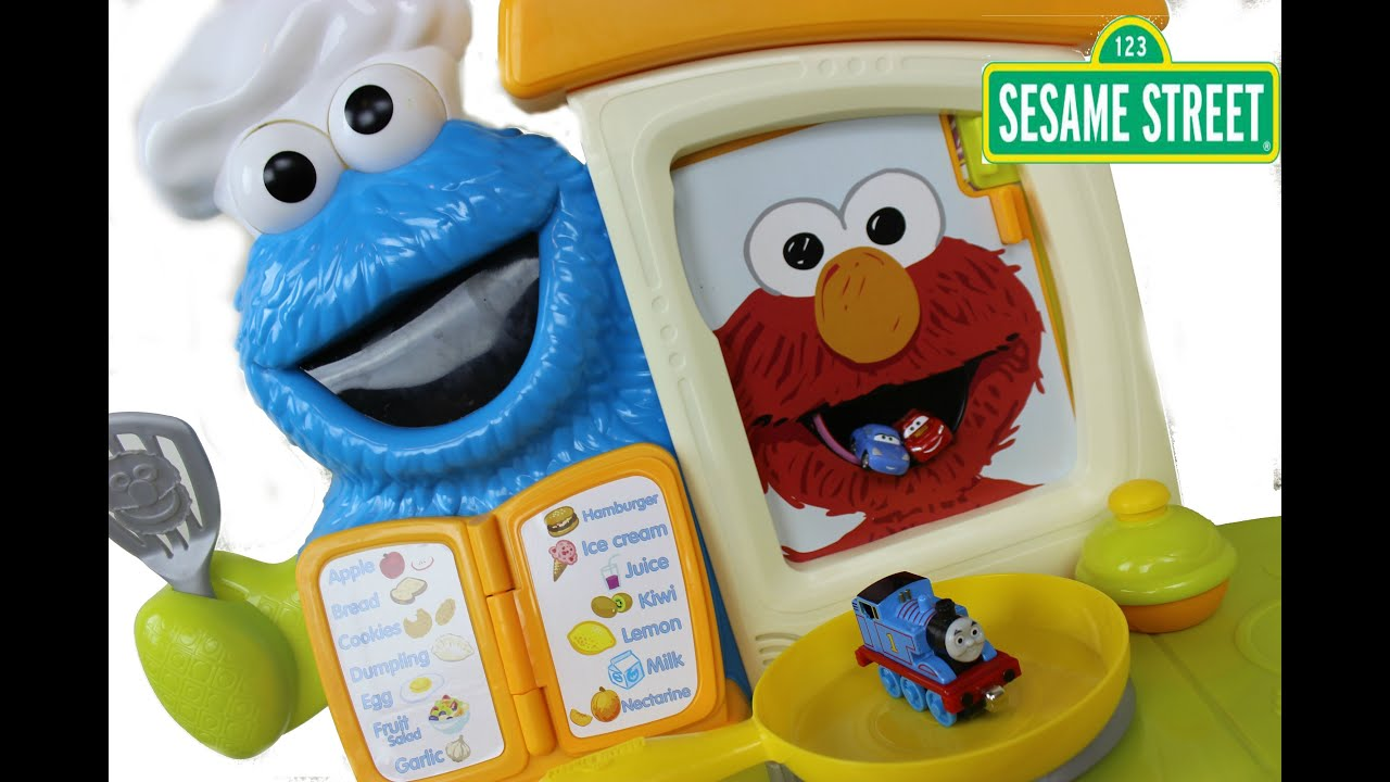Sesame Street Playskool Come Play Cookie Monster Kitchen Cafe Elmo Eats Disney Cars Thomas Youtube
