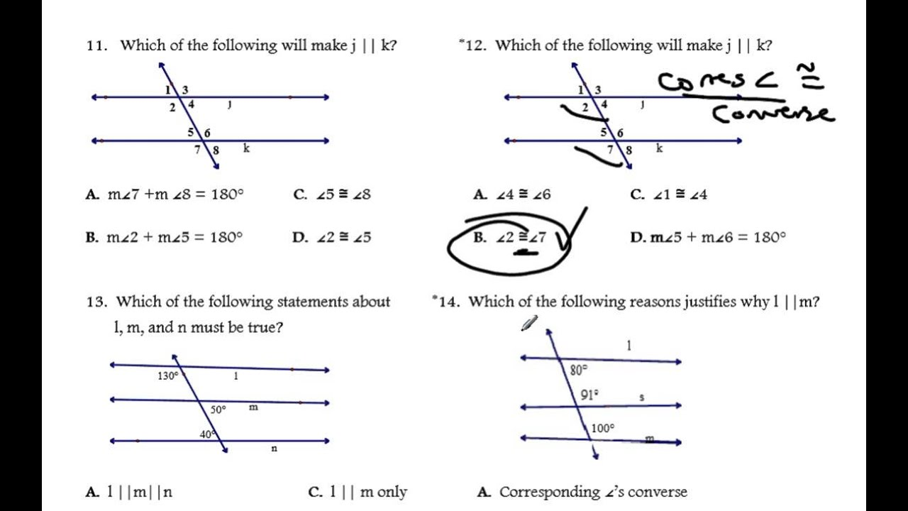 Proving Lines Parallel Worksheet Solutions YouTube – Geometry Proofs Worksheets with Answers