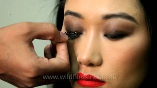 Bhutanese girl gets her make-up done