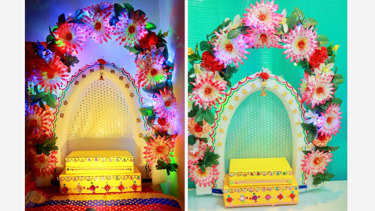 Diy Ganesh Pandal Decorating Ideas For Home Table Decoration Chaturti In Rs 350