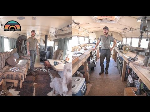 School Bus Conversion Tour - Half Workshop / Half Rustic Cabin - True Mobile Income