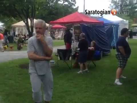 Art in the park today in Saratoga w performance artist Eric Thayer