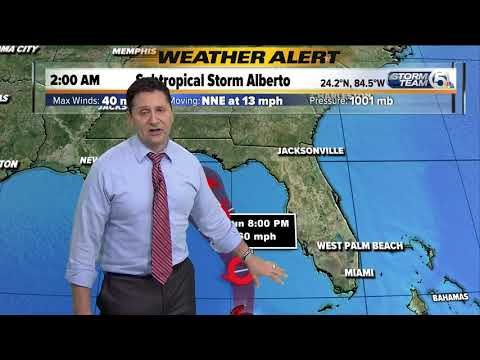 Tropical Storm Alberto at 3 a.m. Sunday