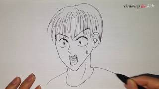 Japan manga- Draw scared face step by step