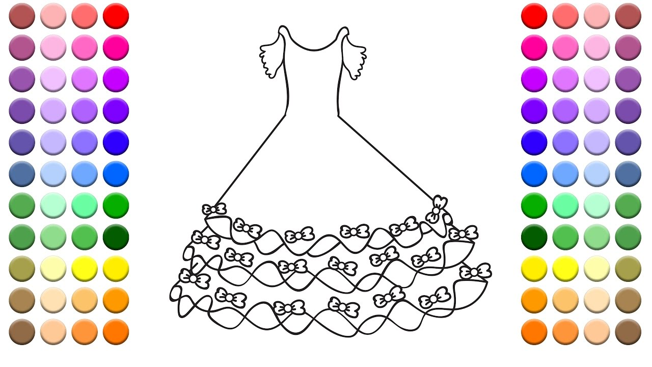 learn to color for kids and color this very pretty bow dress